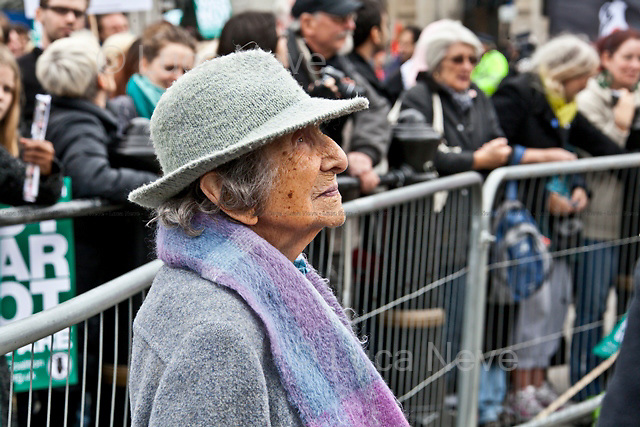 """Hetty Bower, 106-year-old anti-war campaigner - 2011<br /> <br /> London, 08/10/2011. Today Trafalgar Square was the stage of the """"Antiwar Mass Assembly"""" organised by The Stop The War Coalition to mark the 10th Anniversary of the invasion of Afghanistan. Thousands of people gathered in the square to listen to speeches given by journalists, activists, politicians, trade union leaders, MPs, ex-soldiers, relatives and parents of soldiers and civilians killed during the conflict, and to see the performances of actors, musicians, writers, filmmakers and artists. The speakers, among others, included: Jeremy Corbin, Joe Glenton, Seumas Milne, Brian Eno, Sukri Sultan and Shadia Edwards-Dashti, Hetty Bower, Mark Cambell, Sanum Ghafoor, Andrew Murray, Lauren Booth, Kate Hudson, Sami Ramadani, Yvone Ridley, Mark Rylance, Dave Randall, Roger Lloyd-Pack, Rebecca Thorn, Sanasino al Yemen, Elvis McGonagall, Lowkey (Kareem Dennis), Tony Benn, John Hilary, Bruce Kent, John Pilger, Billy Hayes, Alison Louise Kennedy, Joan Humpheries, Jemima Khan, Julian Assange, Lindsey German, George Galloway. At the end of the speeches a group of protesters marched toward Downing Street where after a peaceful occupation the police made some arrests."""