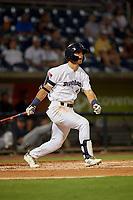 Pensacola Blue Wahoos Mark Contreras (5) at bat during a Southern League game against the Mobile BayBears on July 25, 2019 at Blue Wahoos Stadium in Pensacola, Florida.  Pensacola defeated Mobile 3-2 in the second game of a doubleheader.  (Mike Janes/Four Seam Images)