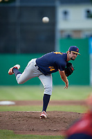 State College Spikes starting pitcher Jim Voyles (44) delivers a pitch during a game against the Batavia Muckdogs on July 9, 2018 at Dwyer Stadium in Batavia, New York.  State College defeated Batavia 3-0.  (Mike Janes/Four Seam Images)