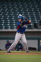 AZL Rangers catcher David Garcia (9) at bat during an Arizona League game against the AZL Cubs 2 at Sloan Park on July 7, 2018 in Mesa, Arizona. AZL Rangers defeated AZL Cubs 2 11-2. (Zachary Lucy/Four Seam Images)