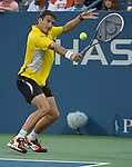 Tommy Robredo (ESP) plays Roger Federer (SUI) at the US Open being played at USTA Billie Jean King National Tennis Center in Flushing, NY on September 2, 2013