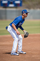 Kansas City Royals third baseman Manny Olloque (4) during a Minor League Spring Training game against the Milwaukee Brewers at Maryvale Baseball Park on March 25, 2018 in Phoenix, Arizona. (Zachary Lucy/Four Seam Images)