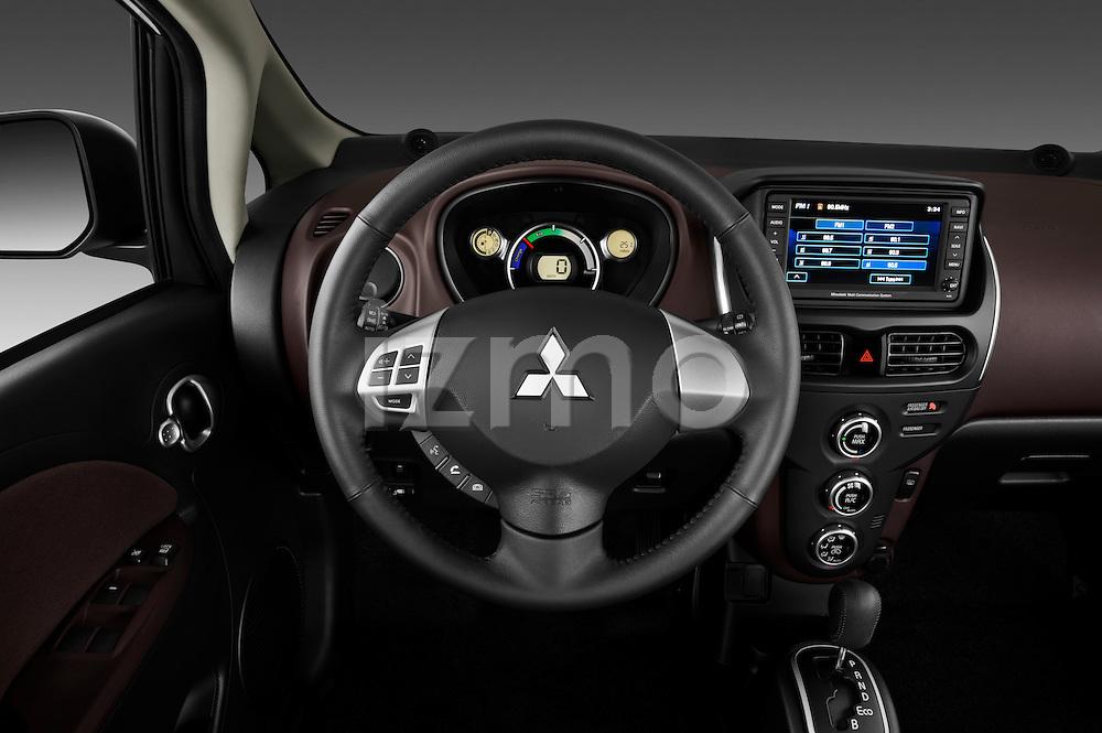 Steering wheel view of a 2012 Mitsubishi MiEV SE