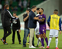 27th March 2021; HBF Park, Perth, Western Australia, Australia; A League Football, Perth Glory versus Newcastle Jets; Richard Garcia head coach of Perth Glory congratulates Diego Castro after Perth won the game 2-1