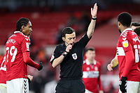 Referee Tony Harrington disallows the penalty scored by Middlesbrough's Marcus Tavernier<br /> <br /> Photographer Alex Dodd/CameraSport<br /> <br /> The EFL Sky Bet Championship - Middlesbrough v Norwich City - Saturday 21st November 2020 - Riverside Stadium - Middlesbrough<br /> <br /> World Copyright © 2020 CameraSport. All rights reserved. 43 Linden Ave. Countesthorpe. Leicester. England. LE8 5PG - Tel: +44 (0) 116 277 4147 - admin@camerasport.com - www.camerasport.com