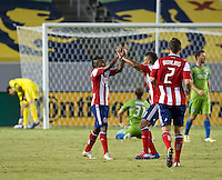 CARSON, CA - August 25, 2012: Chivas USA midfielder Miller Bolanos (17) celebrating this goal during the Chivas USA vs Seattle Sounders match at the Home Depot Center in Carson, California. Final score, Chivas USA 2, Seattle Sounders 6.