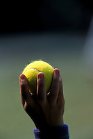 Tennisbal with hand