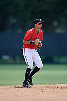 GCL Braves shortstop Livan Soto (13) during a game against the GCL Pirates on July 27, 2017 at ESPN Wide World of Sports Complex in Kissimmee, Florida.  GCL Braves defeated the GCL Pirates 8-6.  (Mike Janes/Four Seam Images)