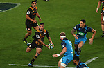 Aaron Cruden of the Chiefs looks to pass during the Super Rugby Match between the Blues and the Chiefs, Eden Park, Auckland,  New Zealand. Friday 26  May 2017. Photo: Simon Watts / www.bwmedia.co.nz