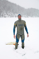 Thomas Grindevold (Norway). Freediving competition Oslo Ice Challenge at freshwater lake Lutvann outside the Norwegian capital Oslo. Atheletes, including current and former world champions, entered a hole in the ice to compete. The participants reached depths down to 52 meters below the surface.