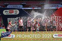 Brentford celebrate winning the Championship Play-Off Final and promotion to the Premier League during Brentford vs Swansea City, Sky Bet EFL Championship Play-Off Final Football at Wembley Stadium on 29th May 2021