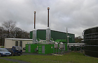 Methane is used to generate heat and electricity by two gas engines. Holsworthy bio gas plant, Devon.