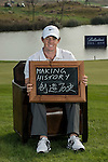 """Rory McIlroy was asked by Ballantine's at the BMW Masters to describe how he stays true to himself; his answer is shown. Ballantine's, who recently announced their new global marketing campaign, """"Stay True, Leave An Impression"""", is a sponsor at the BMW Masters, which takes place from the 24-27 October at Lake Malaren Golf Club in Shanghai.  Photo by Andy Jones / The Power of Sport Images for Ballantines."""