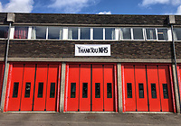 The Fire Station displays a banner thanking the NHS in High Wycombe during the Covid-19 pandemic where the country is in a restricted lockdown. <br /> Photo by Andy Rowland on April 3rd 2020.