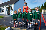 Five of the six new entrants to Coars National School who started on Monday pictured here l-r; Gabriella Moral-Blanco, Saoirse Bruce, Dominykas Seikus, Katie Rose O'Malley, Alva Kendrick, Siobhan O'Shea(teacher) and missing Doroteja Rubsyte.