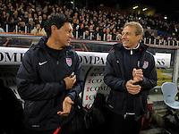 Martin Vasquez (l, USA), Coach Juergen Klinsmann  (r,USA), during the friendly match Italy against USA at the Stadium Luigi Ferraris at Genoa Italy on february the 29th, 2012.