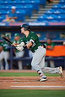 Daytona Tortugas catcher Tyler Stephenson (30) follows through on a swing during a game against the St. Lucie Mets on August 3, 2018 at First Data Field in Port St. Lucie, Florida.  Daytona defeated St. Lucie 3-2.  (Mike Janes/Four Seam Images)