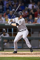 Zack Zehner (27) of the Scranton/Wilkes-Barre RailRiders at bat against the Charlotte Knights at BB&T BallPark on April 12, 2018 in Charlotte, North Carolina.  The RailRiders defeated the Knights 11-1.  (Brian Westerholt/Four Seam Images)