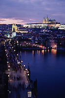 Charles Bridge and Saint Vitus's Cathedral in Prague Castle at dawn, Prague, Czech Republic, Europe