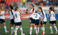 Heather O'Reilly, Abby Wambach, Megan Rapinoe. The US Women's National Team defeated the Canadian Women's National Team, 4-0, at BMO Field in Toronto during an international friendly soccer match on May 25, 2009.