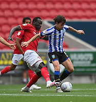 Bristol City's Famara Diedhiou (left) vies for possession with Sheffield Wednesday's Kieran Lee (right)<br /> <br /> Photographer David Horton/CameraSport<br /> <br /> The EFL Sky Bet Championship - Bristol City v Sheffield Wednesday - Sunday 28th June 2020 - Ashton Gate Stadium - Bristol <br /> <br /> World Copyright © 2020 CameraSport. All rights reserved. 43 Linden Ave. Countesthorpe. Leicester. England. LE8 5PG - Tel: +44 (0) 116 277 4147 - admin@camerasport.com - www.camerasport.com