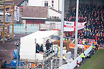 Bristol City 1 Middlesbrough 0, 16/01/2016. Ashton Gate, Championship. The make shift media gantry in the west stand development as Bristol City take on Championship leaders Middlesbrough. Ashton Gate is located in the south-west of the city, it currently has an all-seated capacity of 16,600, due to redevelopment, which will increase to a capacity of 27,000 by the start of the 2016-17 season. Bristol City won the game one goal to nil with a headed injury time winner. Photo by Simon Gill