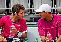 France, Paris , May 27, 2015, Tennis, Roland Garros, Mens doubles: Jean Julien Rojer (NED)(L) and his partner Horia Tecau (ROU)<br /> Photo: Tennisimages/Henk Koster