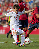 Spain forward David Silva (21) passes the ball. In a friendly match, Spain defeated USA, 4-0, at Gillette Stadium on June 4, 2011.