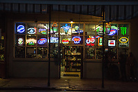 French Quarter, New Orleans, Louisiana.  Neon Lights Advertising Beer, French Quarter.