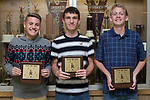 November 1, 2017- Tuscola, IL- Warrior Boys Cross Country award recipients. From left are J.D. Barrett (Warrior Spirit), Michael Holmes (MVP/All-Conference), and Mason Day (Greg Weaver Memorial award),  [Photo: Douglas Cottle]