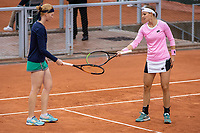 2nd October 2020, Roland Garros, Paris, France; French Open tennis, Roland Garros 2020;  Alison Van Uytvanck and Greet Minnen of Belgium react during the womens doubles second round match against Zhang Shuai of China/Veronika Kudermetova of Russia