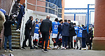 06.03.2021 Rangers v St Mirren: Rangers players at full time run to the fans at the gates in the corner to celebrate