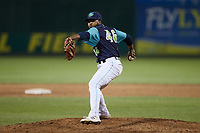 Lynchburg Hillcats relief pitcher Jerson Ramirez (46) in action against the Myrtle Beach Pelicans at Bank of the James Stadium on May 22, 2021 in Lynchburg, Virginia. (Brian Westerholt/Four Seam Images)