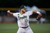 Hillsboro Hops third baseman Ryan Tufts (35) throws to first base during a Northwest League game against the Salem-Keizer Volcanoes at Ron Tonkin Field on September 1, 2018 in Hillsboro, Oregon. The Salem-Keizer Volcanoes defeated the Hillsboro Hops by a score of 3-1. (Zachary Lucy/Four Seam Images)