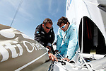 Onboard the MOD70 Race for Water, the first of the new series of oceanic one-design multihulls, skipper Steve Ravussin, Lorient, Brittany, France..Steve Ravussin.Nicolas Pichelin