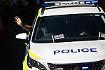 © Joel Goodman - 07973 332324 - all rights reserved . 24/08/2019. Manchester, UK. Police with Pride car . The 2019 Manchester Gay Pride parade through the city centre , with a Space and Science Fiction theme . Manchester's Gay Pride festival , which is the largest of its type in Europe , celebrates LGBTQ+ life . Photo credit: Joel Goodman/LNP