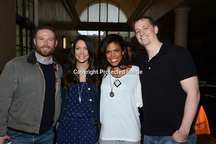 Jacob Young and Carla Mosley and husband Jeremiah Frei-Pearson attends the 2015 Daytime Emmy Gifting Suite on April 25, 2015 at Warner Brothers Stuido Lot  in Burbank, California, USA. The gift lounge was presented by OffTheWallIdeas.com.