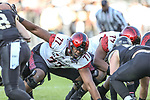 San Diego State Aztecs offensive lineman Ryan Pope (77) in action during the Armed Forces Bowl game between the San Diego State Aztecs and the Army Black Knights at the Amon G. Carter Stadium in Fort Worth, Texas.