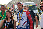 Stage winner Thibaut Pinot (FRA) Groupama-FDJ with Marion Gachies press officer and Marc Madiot Team Director atop the Col du Tourmalet at the end of Stage 14 of the 2019 Tour de France running 117.5km from Tarbes to Tourmalet Bareges, France. 20th July 2019.<br /> Picture: Colin Flockton | Cyclefile<br /> All photos usage must carry mandatory copyright credit (© Cyclefile | Colin Flockton)