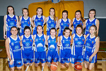 Caherciveen U16 basketball team who played Kenmare in the KABB Basketball U16 Cup final in the Sports Complex, Tralee on Sunday. Kneeling l to r: Bertha Casero Ortiz, Hannah Sugrue, Cliona O'Shea, Ellie O'Connell, Emma Sheehan, Deidre Kelly and Lauren Curran.<br /> Standing l to r: Amy Quirke, Emma Quigley, Isoabella Curran, Andrea Bernotaite, Caiti O'Sullivan, Shonagh Fitzpatrick and Aoife Dwyer.