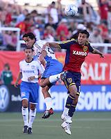 Jason Hernandez, Ivan Guerrero and Javier Morales in the 0-0 draw at Rice Eccles Stadium in Salt Lake City, Utah on June 18, 2008.