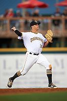 Bradenton Marauders second baseman Kevin Kramer (14) warmup throw to first during a game against the Fort Myers Miracle on April 9, 2016 at McKechnie Field in Bradenton, Florida.  Fort Myers defeated Bradenton 5-1.  (Mike Janes/Four Seam Images)