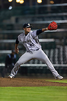 Kane County Cougars relief pitcher Chester Pimentel (40) during a Midwest League game against the Fort Wayne TinCaps at Parkview Field on April 30, 2019 in Fort Wayne, Indiana. Kane County defeated Fort Wayne 7-4. (Zachary Lucy/Four Seam Images)