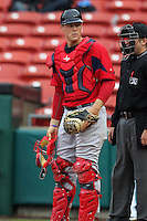 Pawtucket Red Sox catcher Ryan Lavarnway #36 during a game against the Buffalo Bisons at Coca-Cola Field on April 15, 2012 in Buffalo, New York.  Buffalo defeated Pawtucket 10-9 in ten innings.  (Mike Janes/Four Seam Images)