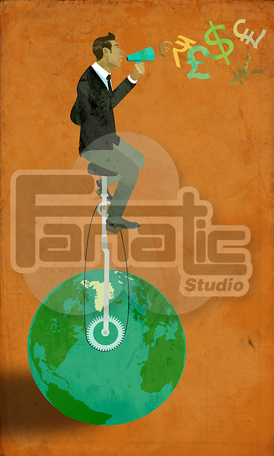 Conceptual shot of businessman balancing on planet earth and shouting in megaphone representing globalization of business