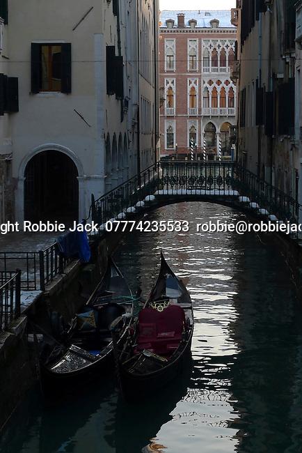 Gondolas on Canal in Venice, Italy.