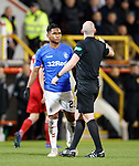 06.02.2019:Aberdeen v Rangers: Bobby Madden tells Alfredo Morelos to cool it in the first half