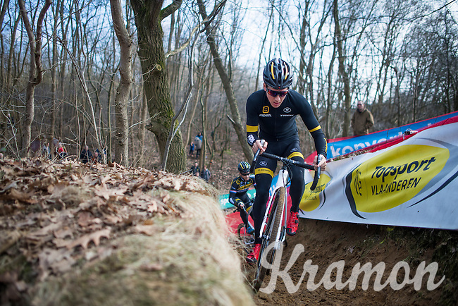 Tom Meeusen (BEL/Telenet-Fidea) during recon<br /> <br /> men's race<br /> CX Soudal Classics Leuven/Belgium 2017