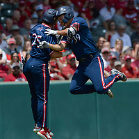 New Jersey Institute of Technology center fielder Albert Choi (39) celebrates Friday, June 4, 2021, with left fielder Julio Marcano (25) after hitting a solo home run during the first inning of Arkansas' 13-8 win in the first game of the NCAA Fayetteville Regional at Baum-Walker Stadium in Fayetteville. Visit nwaonline.com/210605Daily/ for today's photo gallery.<br /> (NWA Democrat-Gazette/Andy Shupe)