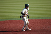 Austin Knight (14) of the Charlotte 49ers takes his lead off of second base against the Old Dominion Monarchs at Hayes Stadium on April 25, 2021 in Charlotte, North Carolina. (Brian Westerholt/Four Seam Images)